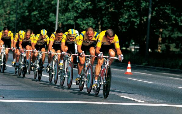 Lech Piasecki wearing the maillot jaune leads his Del Tongo team in the team time-trial.