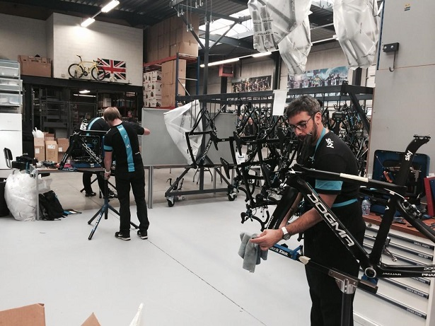 Building in progress, we have 8 mechanics here assembling 60 road bikes.