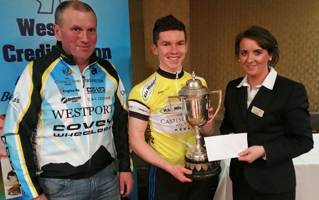 Daire Feeley receiving his trophy.