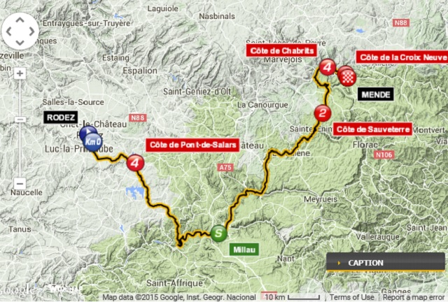 Tour de France Stage 14 Map