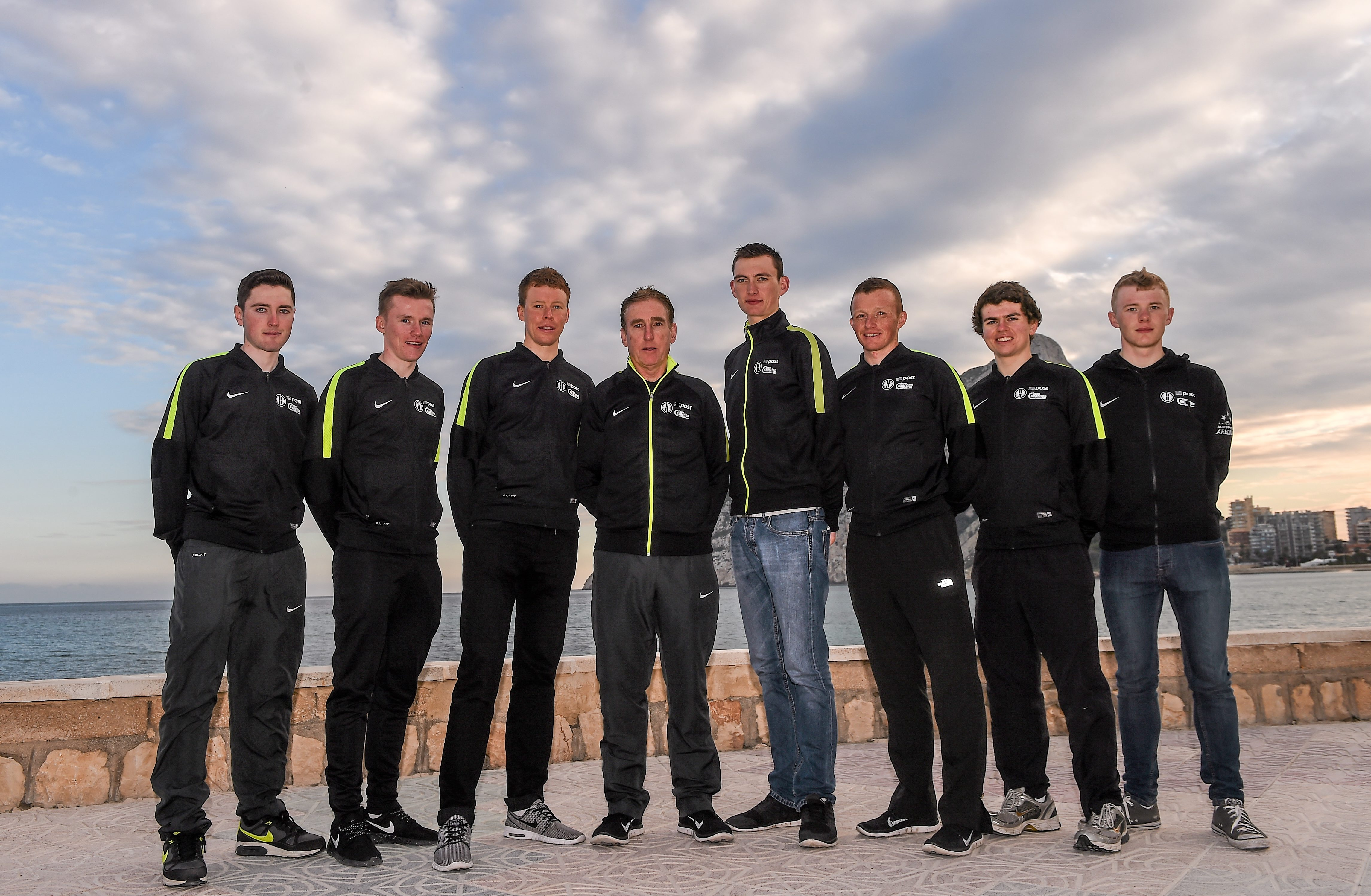 Irish members of the An Post Chain Reaction Sean Kelly Team, from left, Jack Wilson, Daniel Stewart, Connor McConvey, Sean Kelly, Sean McKenna  Damian Shaw, David Montgomery and Angus Fyffe at the 2016 team launch in Calpe, Spain. Picture credit: Paul Mohan / SPORTSFILE