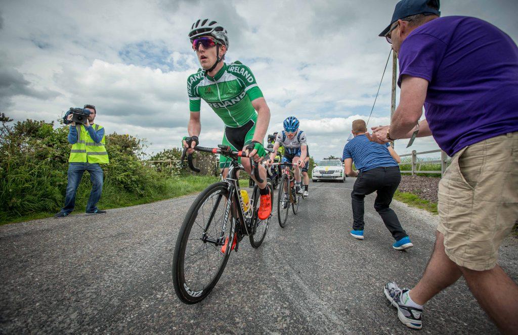 Eddie Dunbar of Team Ireland climbs outside of Rathcormac (Photo: ©INPHO/Morgan Treacy)
