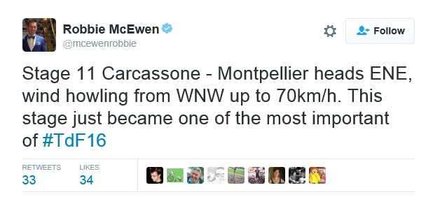 Robbie McEwen Tweet