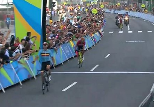 The win in an action packed olympic road race the bike comes first