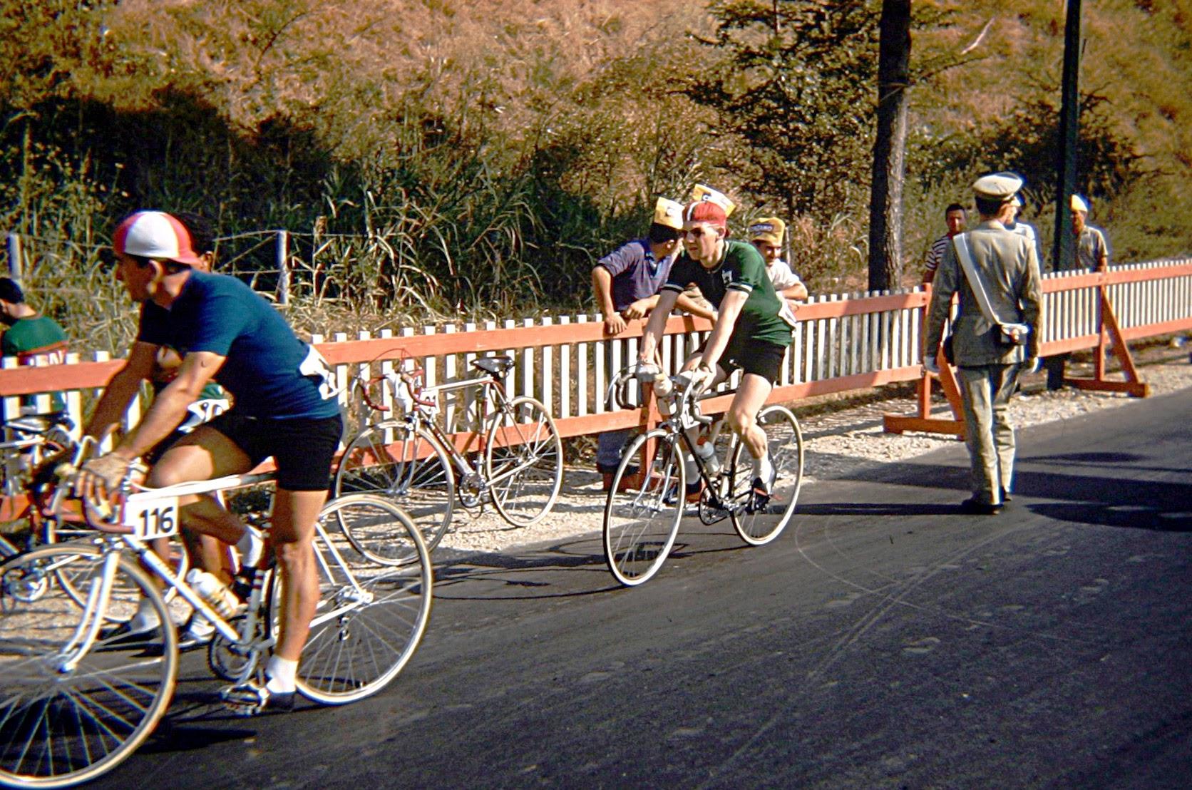 Seamus Herron follows an Italian rider to the start line of the road race. (Photo: © Sean B. Fox)