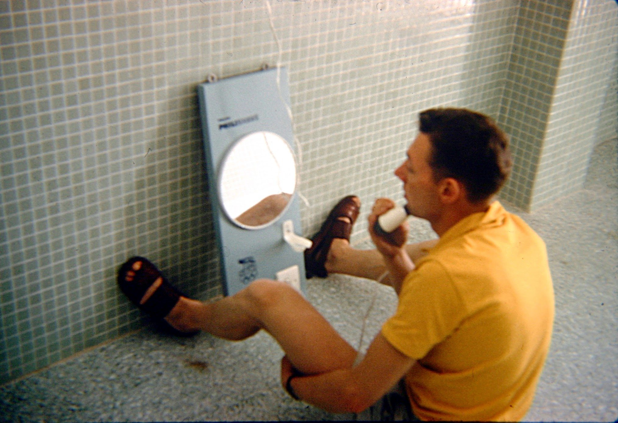 Seamus Herron making use of the basic facilities in the Olympic Village. (Photo: © Sean B. Fox)