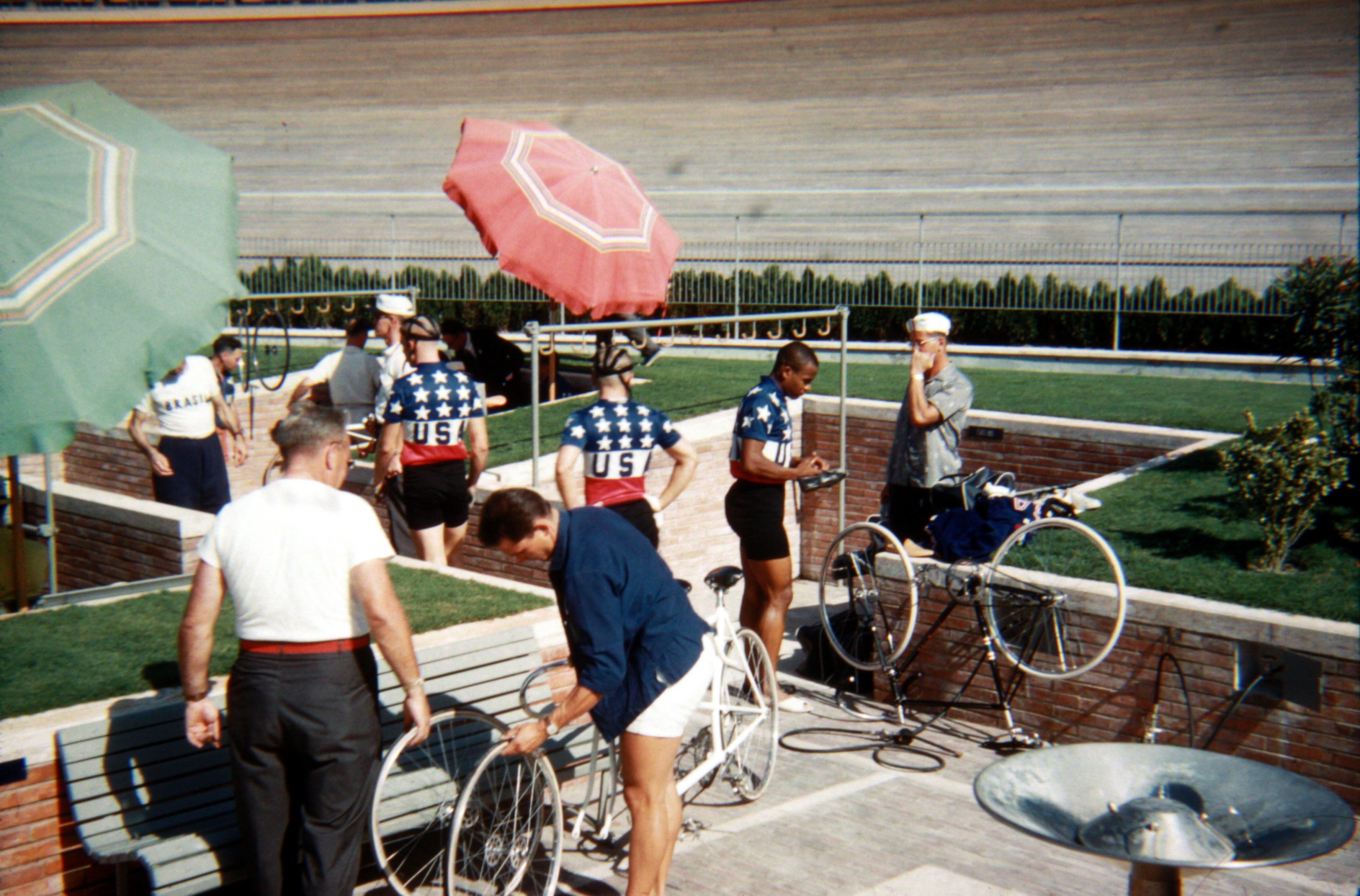 Team USA. The riders from left are the tandem sprint pairing of David Sharp and Jack Hartman and individual sprinter, Herbie Francis. (Photo: © Sean B. Fox)