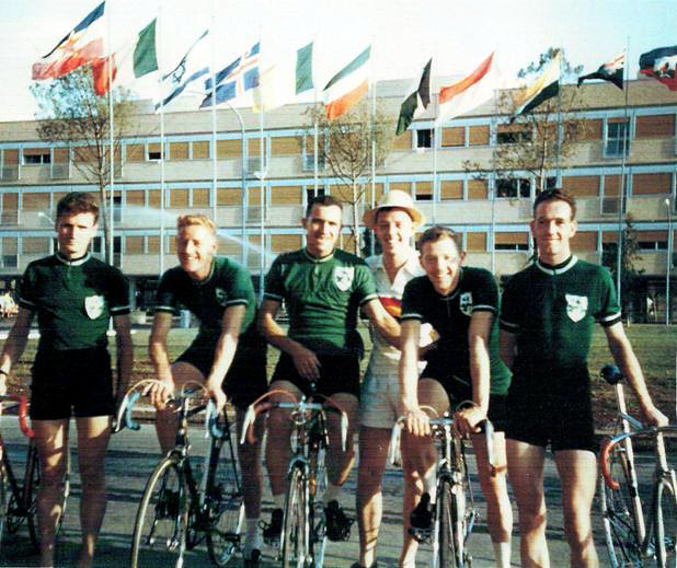 The Irish team pose at the Olympic Village. From left: From left: Martin McKay (Maryland Whs) , Peter Crinnion (Bray Whs), Sonny Cullen (Eagle CRC), Sean Fox (Eagle CRC - Manager), Seamus Herron (Northern CC) , Mick Horgan (Maryland Whs)  (Photo: © Sean B. Fox)
