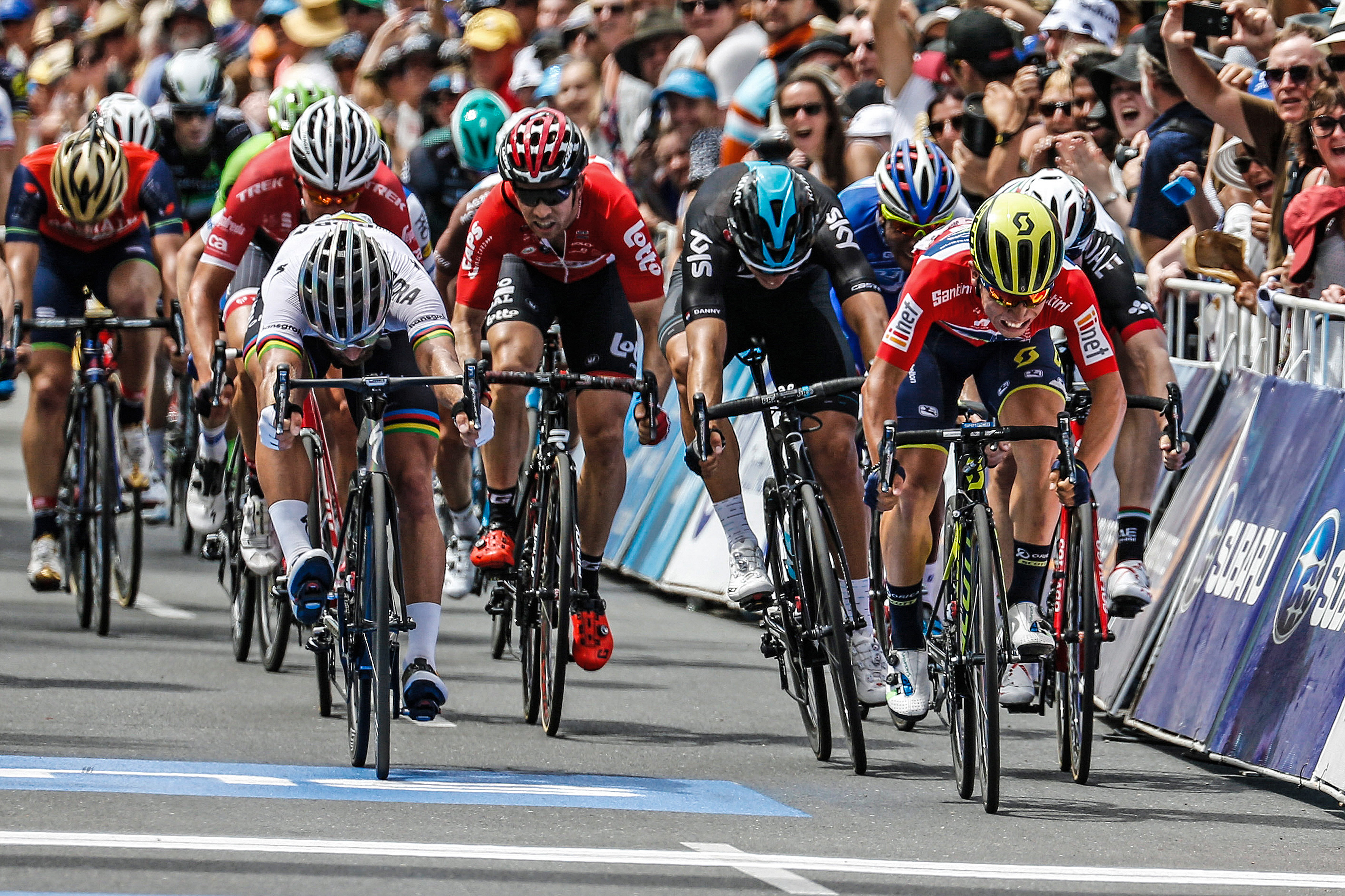 Sagan gets 2nd behind Caleb Ewan (©BORA-hansgrohe / Stiehl Photography)