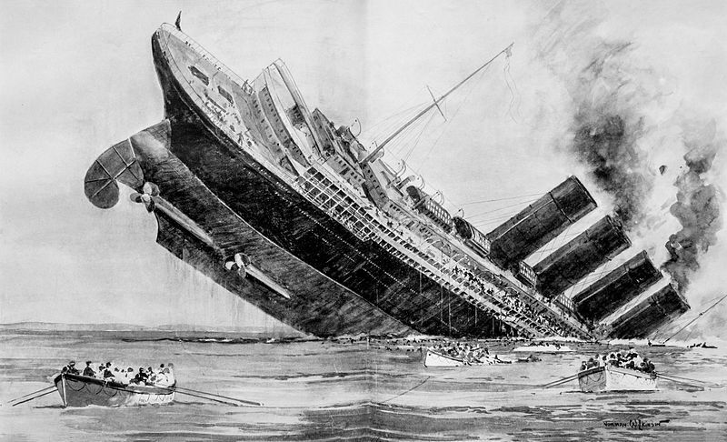 An artist's illustration of the sinking from The London Illustrated News